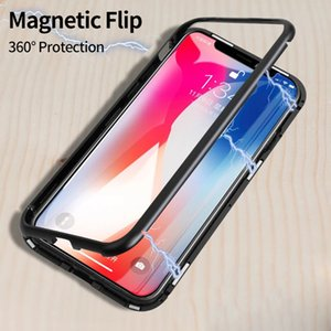 Magnetische Adsorption Metall Flip Handy-Fälle für iPhone XS Max XR X 10 8 7 6 6s Plus-Löschen Back ausgeglichenen Glasdeckel coque