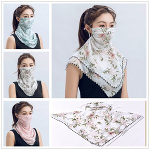 Women Silk Magic Scarf Face Mask Multifunctional 13 Styles Chiffon Handkerchief Outdoor Windproof Half Face Dust-proof Sunshade Masks