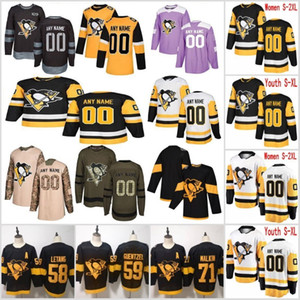 Custom Pittsburgh Penguins Jerseys Sidney Crosby Evgeni Malkin Kris Letang Patric Hornqvist Brandon Tanev Ice Hockey Jersey Stitched