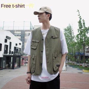 Summer wear multi-pocket loose coat tooling vest fashion tactical coat men's all-match sleeveless top