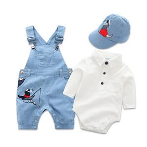 Toddler Boy Hat Romper Clothing Baby Set For Newborn Clothes 3pcs Cotton Bib Long-sleeved Jumpsuit Suit Boy Fashion Outfit