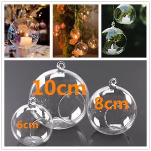 Vidrio candelabro de cristal vela de la bola de cristal colgando de té colgando titular de la luz romántica casa banquete de bodas