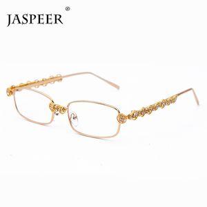 JASPEER luxe de Diamond Rectangle Lunettes de soleil Femmes Marque Designer Fashion Square Homme Lunettes Femme Lunettes objectif clair