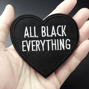 Todo Negro Todo Forma de corazón Música Parche bordado Hierro Sobre parche Costura Apliques Ropa Parche Pegatinas Accesorios de ropa