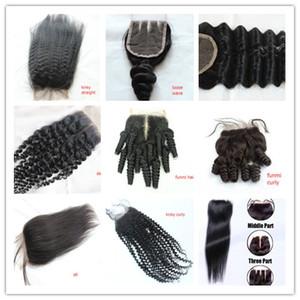 Brésilienne Cheveux Humains Fermeture 4 * 4 vague d'eau cheveux péruviens vague profonde vague de corps droite noeuds blanchis partie libre suisse dentelle fermeture