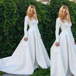 Vestidos de novia de mangas largas de la vendimia 2020 cuello en V simple Jardín Country Beach Vestidos de novia más el tamaño de vestido de la novia
