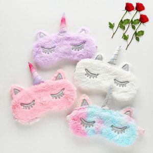 Nuevo Cute Unicorn Sleep Eye Mask Cartoon Cute Plush Blackout Goggles Eyeshade Party Favors