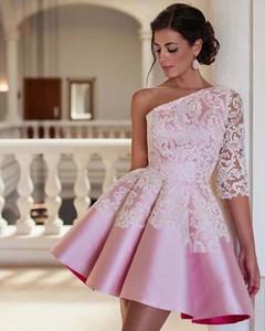 2019 Pink One Shoulder Party Dresses White Appliques Satin A Line Formal Homecoming Dresses Girls Graduation Dresses Custom Made