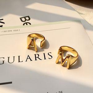 joyería de la manera de cobre aumentó la plata del oro Accesorios Ins estrella del mismo párrafo 26 letras inglesas Smooth anillo abierto para la mujer