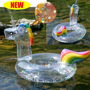 New Sequin Unicorn pool float inflatable Swimming Ring Kids cystal shiny Swim Ring Adult tube circle for swimming pool toys