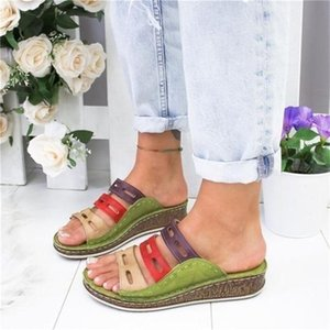 Women's Beach Slippers 2020 Summer Women Lady Retro Stitching ColorCasual Low Beach Open Peep Toe Sandals 3 colors Shoes Slides