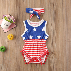 Summer Toddler Clothing Cute Baby Girls Sleeveless USA Independence Days Overall Hairbands Infant Two Piece Sets Red Striped Jumpsuits D6415