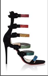 Tacco a spillo per le donne Estate Sandali con diamanti colorati Nuova moda fibbia in pizzo donne sandali Scarpe da sposa in vera pelle con scatola