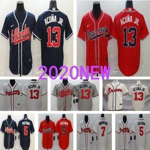 Atlanta 13 Ronald Acuna Jr Jersey 2020 NOUVEAU Braves Freddie Freeman Ozzie Albies Blanc Bleu Gris Baseball Jersey