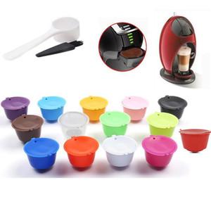 3pcs / set 15colors reutilizable café cápsula con cuchara de plástico Cepillo de limpieza de filtro de café recargable compatible para Nescafé Dolce Gusto