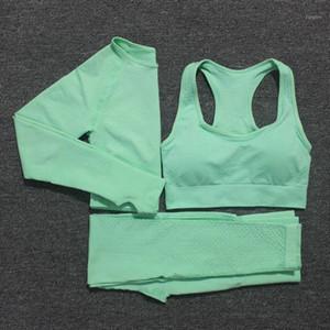 10 цветов Йога Set Vital Фитнес Спортивный костюм Женщины Спортивный бюстгальтер + длинным рукавом Crop Top Gym Бег Одежда Femme1
