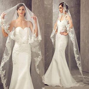 3 Metre Uzun Ucuz Şapel Uzunluğu Beyaz Fildişi Tarak Veu De Noiva Longo ile Gelin Veils Düğün Peçe