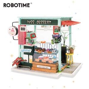 محطة آيس كريم Robotime DIY مع أثاث الأطفال ... ... بيت الدمى الخشبي البالغ مصغر نموذج بناء الدمى Dgm06 Y200317