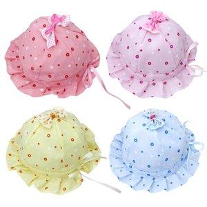 Casual bebé recém-nascido menina Verão Bucket Sun Dot Imprimir Ruffle Fisherman Hat apropriado para bebês de 0-8 meses ou mais