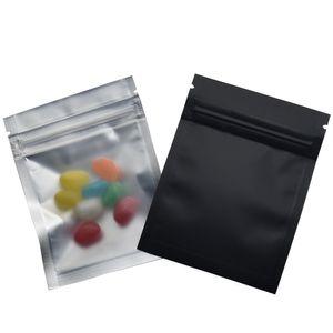100pcs / lot 7,5 * 10cm Matte noir / clair Sacs à glissière avant Refertable serrure zippée Sac plastique en aluminium aluminium d'épicerie d'épicerie
