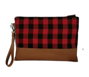 5pcs cosmético del bolso de las mujeres PolyesterPu tela escocesa Patten bolsas grandes de maquillaje Capacidad color de la mezcla señora Viaje Neceser