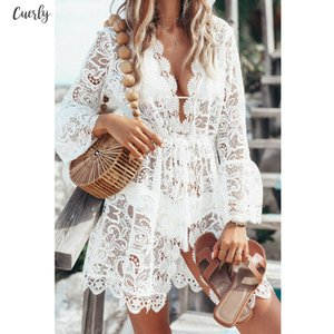 New Sexy Women Lace Short Dress Ladies V Neck Long Sleeve Floral Bodycon Dresses Summer Casual Beach White Mini Sundress Hot Sell