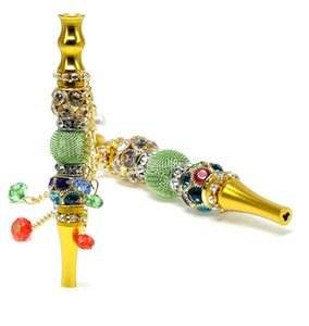 Latest Colorful Portable Removable Hookah Shisha Smoking Mouthpiece Mouth Tips Down Stem Holder Diamond Pendant Decoration High Quality