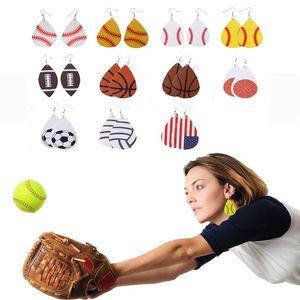 Baseball Fußball Leder Ohrringe Frauen Sport Neon Softball Ohrringe Teardrop Ohrringe Modeschmuck Zubehör Personalisierte Party Favor