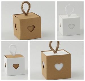 (100 Picess / Lot) Düğün dekorasyon hediye kutusu ve parti lehine şeker kutusu için Aşk Kalp Düğün Favor Box Gelin duş kutuları