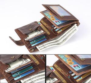 새로운 남성용 지갑 Retro RFID 도난 방지 천연 가죽 남성용 동전 지갑 남성용 Crazy Horse Cow Leather Money Bag