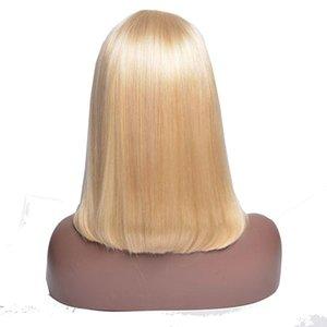 150 Densità Biondo 613 Bob diritta dei capelli del merletto del pizzo di Wave frontale parrucche con Pre pizzico linea sottile brasiliano umani del Virgin Parrucche spedice da USA