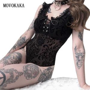 MOVOKAKA 섹시한 레이스 Bodysuit 붕대 Partserspective Bodysuit 여성 장난 여자 복 Bodysuit 긴 여자의 바 T200418