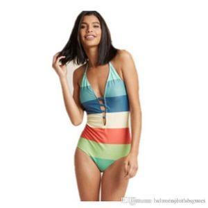 Womens Bikini femminile sexy Backless Swimwear Fashion Designer Slim costume da bagno estivo a righe stampato