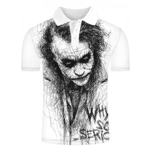 new polo shirt for men, clown drawing, 3d print, short sleeve funny t-shirt, summer quality polo, t-shirts and t-shirts for men