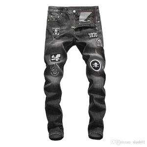 2019 New jeans high quality luxury men's designer jeans slim body paint small leg locomotive men's jeans wx32