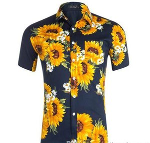 Fashion Designer Tournesol imprimé Hommes Chemises courtes manches T-shirts adolescents turn-down Casual Col d'été Hauts Vêtements pour hommes