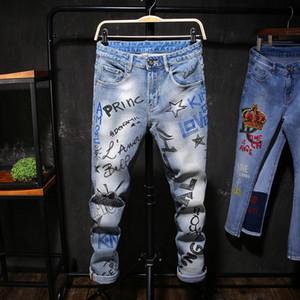 Venta caliente 2019 nuevo diseñador para hombre Jeans moda impreso pantalones largos azul Denim Skinny Jeans Casual elástico hombres pantalones ropa