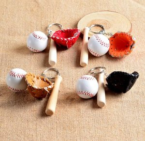 Trasporto libero guanti da baseball di legno chiave catena di baseball del fumetto portachiavi Miglior regalo di Natale Bat Portachiavi mini softball