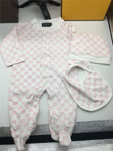 Mode Baby-Mädchen-Spielanzug-Overall-Baumwolloberseiten + Hat 2Pcs Outfit Kleidung stellten Neugeborene Kleinkind 0-24M Kind-Kleidung Kostenloser Versand