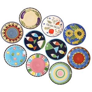 8.5inch 1 Stück Homestia Exotic Hand -Painted Marokko Italien Böhmen-Art-Teller-Salat-Platte Essen Dekoration Teller