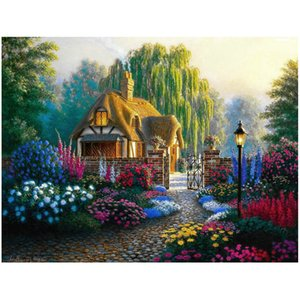 Garden Flower House 5D Diamond Round Rhinestone Embroidery Painting Animal Birds DIY Cross Stitch Kit Mosaic Draw Home Decor Art Craft Gift
