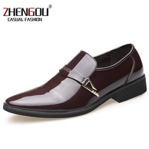 ZHENGOU Black Brown  italian  Leather mens Shoes for Business Dress 686 Oxford Formal Wedding Footwear Shoes paten