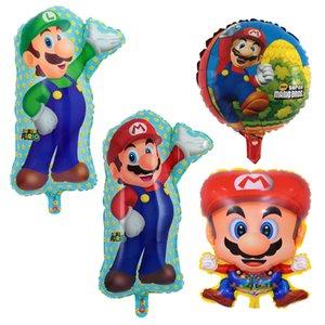 Marios Bros hincha 2 Conjuntos de aluminio laminado de material Ballons tortuga Luigi aire de cumpleaños del tema de la tortuga del partido de Navidad para niños juguetes 18 pulgadas