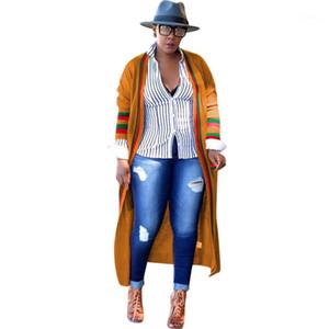 Stripe Long Womens Outerwear Ribbon Plus Size Spring Ladies Designer Cardigan Coats Female Clothing Loose Red Green