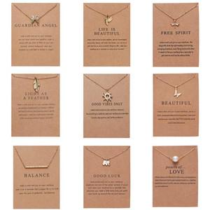 Мода Ожерелье для женщин, золотой цвет, 9 стилей кулон, бумажная карта упаковка в Opp Pack лучший подарок для вашего одноклассника, друга, матери ювелирные изделия