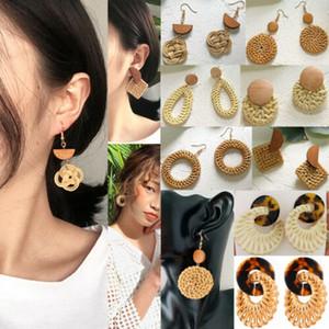 2019 القش المرأة القرط سترو القش المنسوجة خشبي أقراط استرخى الهندسية الأذن مربط مجوهرات هدية
