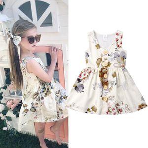 INS Baby girls Princess dress summer sleeveless tank dresses floral toddler skirt button decor kids party wear birthday gifts 80-120cm lxhua