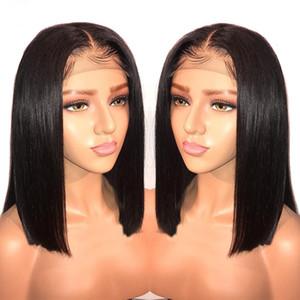 13x6 Lace Front Human Hair Wigs For Women Short Bob Brazilian Remy Black Blunt Cut 150 Density PrePlucked Full End
