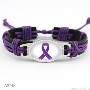 Борец рака молочной железы осведомленности Pink Ribbon Charm кожаные браслеты Желтая лента тканая Веревка браслет для женщин Заявление ювелирные подарки