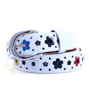 Kids Children Waist Belt Boy Girl Hollow Flower Waistband Faux Leather Belt